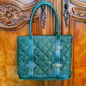J.CREW GREEN QUILTED JACQUARD AND LEATHER HANDBAG